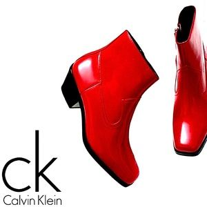 New! NWT Calvin Klein Western Leather Red Bootie